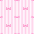 Tile vector pattern cute bows on pink white stripes background