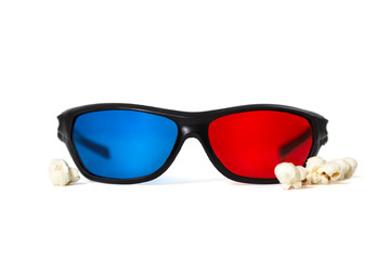 3d glasses and popcorn isolated on white background.