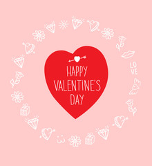 Happy Valentines Day lettering Greeting Card