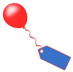 Ballon Schild rot blau  #150114-02