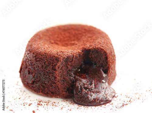 Papiers peints Boulangerie Hot chocolate pudding with fondant centre on plate, close-up
