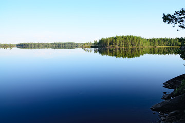 Morning silence. Lake Engozero, North Karelia, Russia