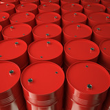 Large group of red oil barrels. High resolution.