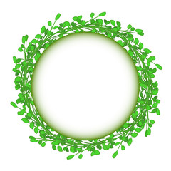 abstract green grass circle frame vector whit background