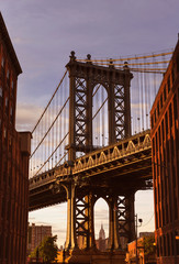Manhattan Bridge at Brooklyn street New York US