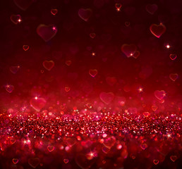 valentine background with blur hearts