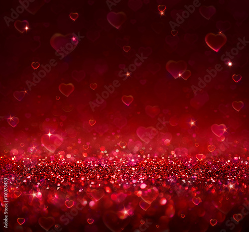 valentine background with blur hearts - 76078433