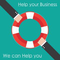 Hand and lifebuoy. Help business