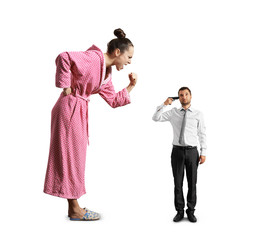 angry woman screaming at small tired man