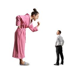 man looking at emotional big woman