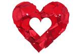 Herz aus Blüten von Rose Thema Liebe zum Valentinstag oder Mutt poster