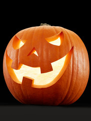 Halloween pumpkin on black, clipping path
