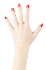 Red nail polish on woman hand raised up, clipping path