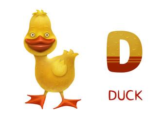 Cartoon english alphabet, duck