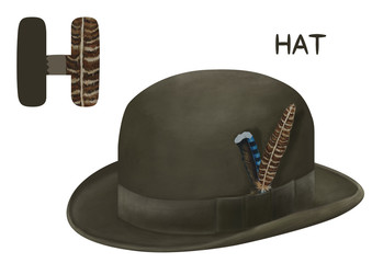 Cartoon english alphabet, hat