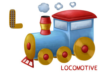 Cartoon english alphabet, locomotive
