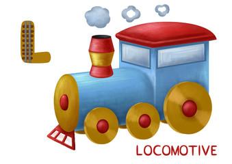 Cartoon english alphabet, locomotive