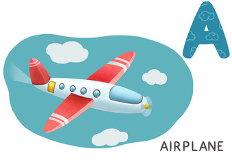 Cartoon english alphabet, airplane