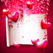 Valentine's Day background with empty paper