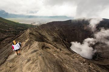 Hikers Walking Around Mount Bromo in Java, Indonesia