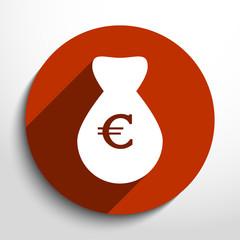 Vector money bag web flat icon.