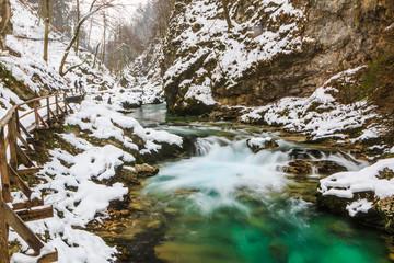 River Radovna flowing through Blejski Vintgar gorge in winter