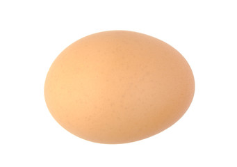 Single brown chicken egg isolated on white.