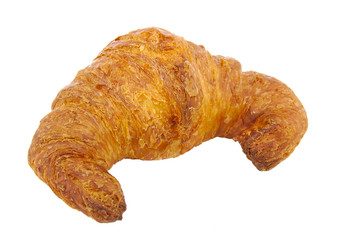French croissant isolated on white.