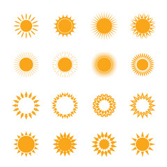 Vector yellow set of Sun