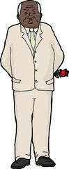 Cranky Man with Rose