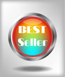 Advertising label with metal circle, text best seller on