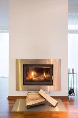 Close-up of burning fireplace