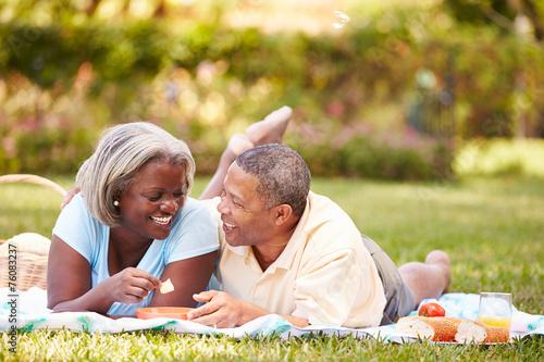 canvas print picture Senior Couple Having Picnic In Garden