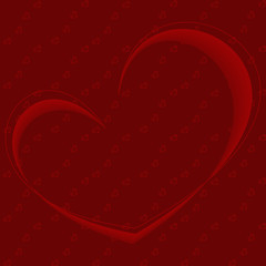 Dark red background with hearts
