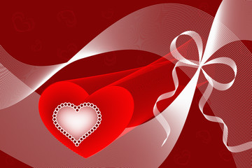 Red love hearts, curves and ribbons