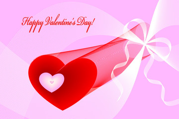 Valentine hearts, curves and ribbons on pink