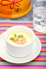 Steamed Egg with fresh shrimp in white cup