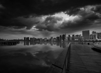 Manhattan New York cloudy dramatic skyline USA
