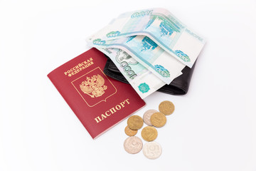 foreign passport  and ruble  on white background