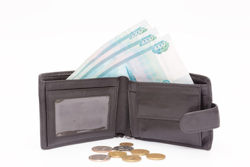 money in the form of ruble bills in your wallet and coin