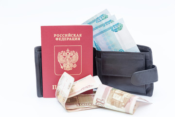 foreign passport and wallet with money ruble