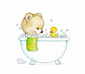 Teddy bear in a bath tub