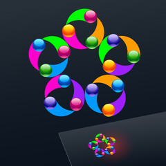 Vector colorful logo on dark Background