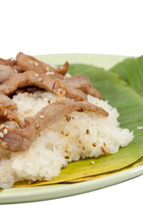 Sticky Rice and Pork fried vertical isolate