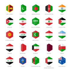 Asia Middle East and South Asia Flag Icons Hexagon
