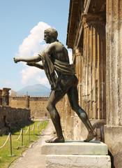 Statue Of Apollo In The Ruins Of Pompei, Italy