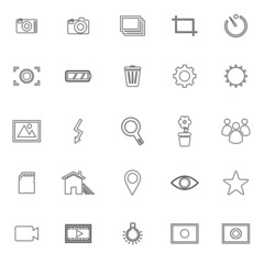 Photography line icons on white background
