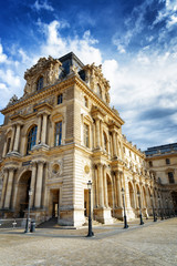 The facade of the Pavilion Mollien of the Louvre Museum in Paris