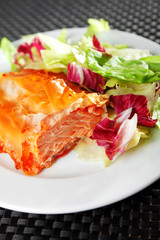 Salmon stewed in phyllo pastry