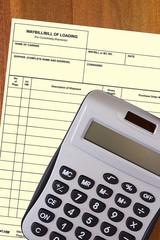 Calculator with a blank waybill